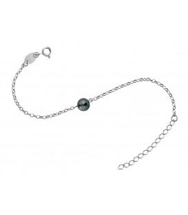 Bracelet chaine forcat argent + 1 perle de tahiti ronde