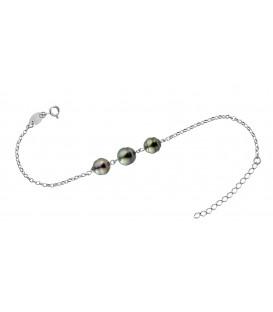 Bracelet chaine forcat argent + 3 perles de tahiti cerclees