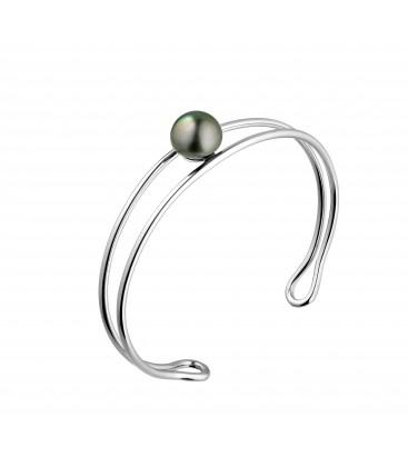 Bracelet rigide argent + 1 perle de tahiti ronde