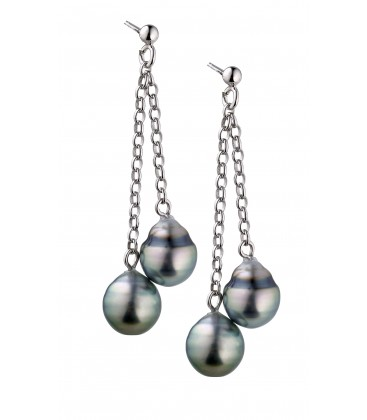 Boucle d'oreille argent 4 perles de tahiti cerclees 8/10 mm