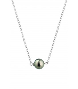 Collier chaine forcat argent + 1 perle de tahiti cerclee
