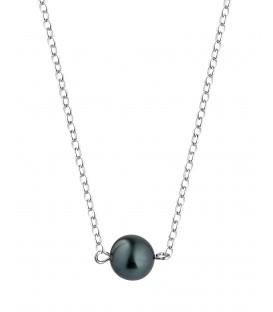 Collier chaine forcat argent + 1 perle de tahiti ronde