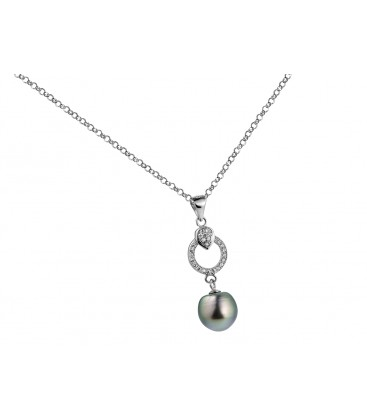 Pendentif argent + 1 perle de tahiti cerclee