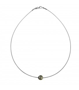 Cable omega argent + 1 perle de tahiti ronde