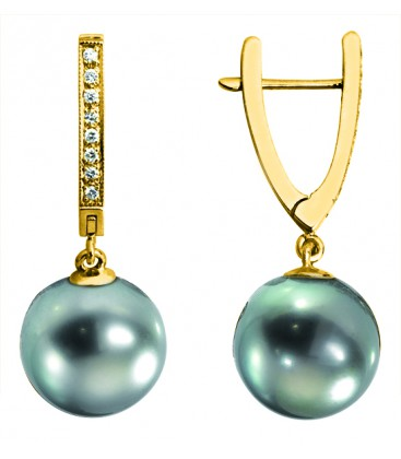 Boucle d'oreille or + perle de tahiti ronde