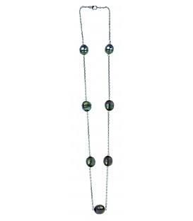 Collier or 18 cts + 7 perles de tahiti cerclees
