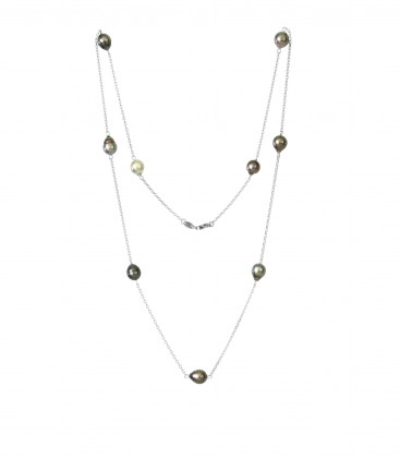 Sautoir chaine forcat argent + 9 perles de tahiti