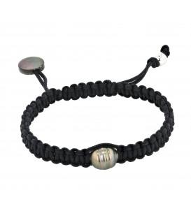 Bracelet 1 perle de tahiti cerclee 8/10 mm sur coton cire