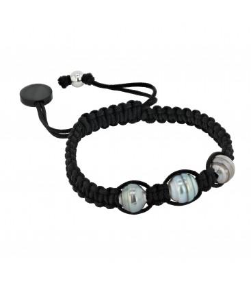 Bracelet 3 perles de tahiti cerclees 8/10 mm sur coton cire