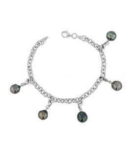 Bracelet chaine argent + 5 perles de tahiti cerclees