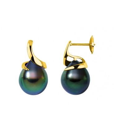 Boucle d'oreille + perle de Tahiti ronde
