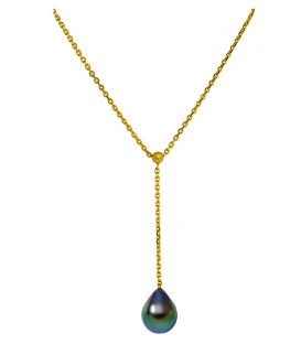 Collier or 18 cts + 1 perle de tahiti poire