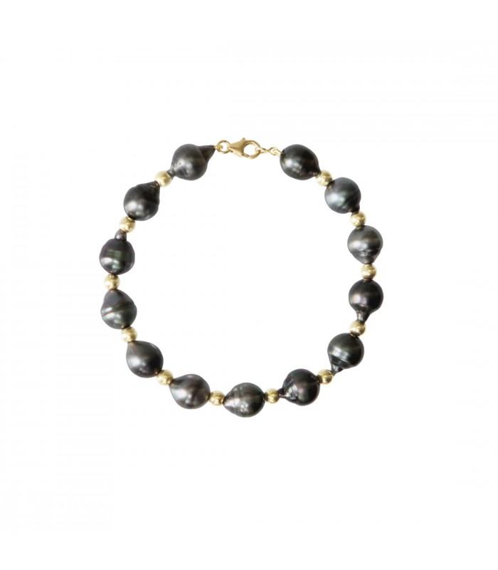 4 De 810 Boule Bracelet Mm MmFermoir Tahiti Perle Cerclee Or AjL354Rq