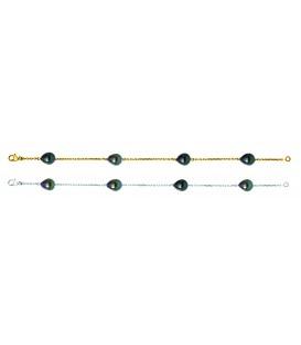Bracelet or 18 cts + 4 perles de tahiti poires
