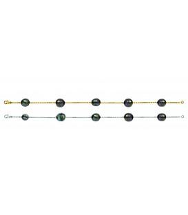 Bracelet or 18 cts + 5 perles de tahiti cerclees