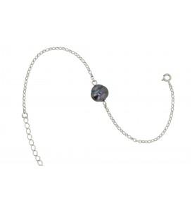 Bracelet chaine forcat argent + 1 perle de tahiti cerclee