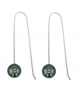 Boucle d'oreille argent + 2 perles de tahiti rondes