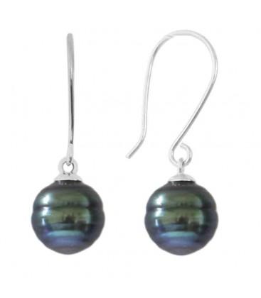 Boucle d'oreilles + perle de tahiti ronde