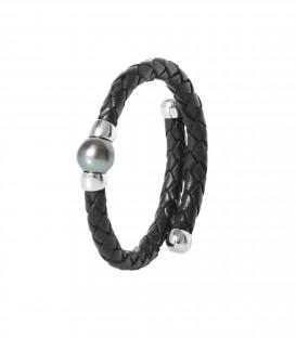 Bracelet cuir argent + 1 perle de tahiti ronde