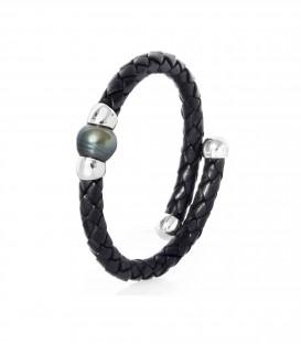 Bracelet cuir argent + 1 perle de tahiti cerclee