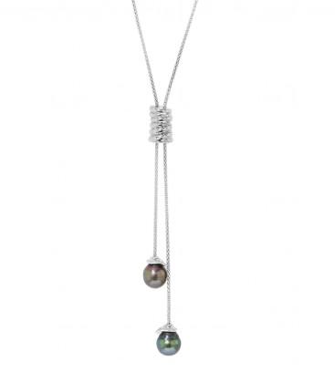 Collier chaine ajustable argent + 2 perles de tahiti cerclees