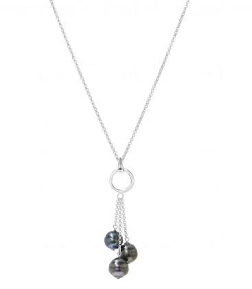 Chaine forcat argent + 3 perles de tahiti cerclees