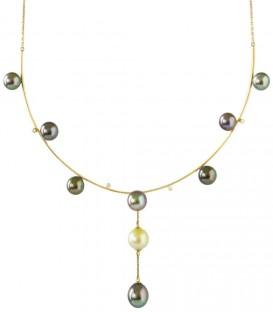 Collier parrure + 9 perles de Tahiti rondes